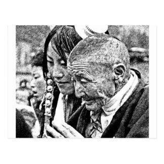 祖母を持つチベットの女の子 ポストカード
