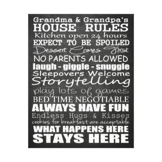 祖母及び祖父の家の規則11x14のキャンバス キャンバスプリント