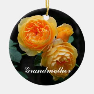 祖母3の黄色バラのオーナメント セラミックオーナメント
