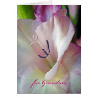 祖母、ピンクのグラジオラスの写真のための祖父母日 グリーティングカード