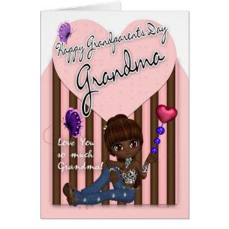祖母、祖父母日カード-かわいい小さな女の子 カード