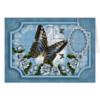 祖母、蝶およびばら色のイースター挨拶状 グリーティングカード