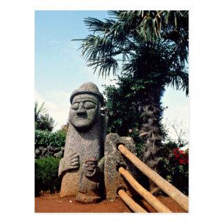 祖父の彫像は、島、南朝鮮チェジュ ポストカード