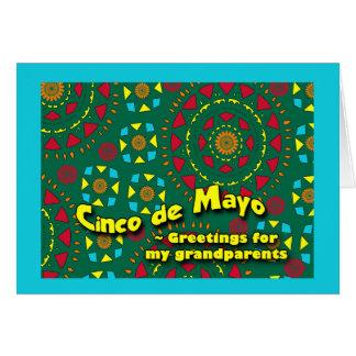 祖父母のためのCinco deメーヨー、カラフルなモザイク カード