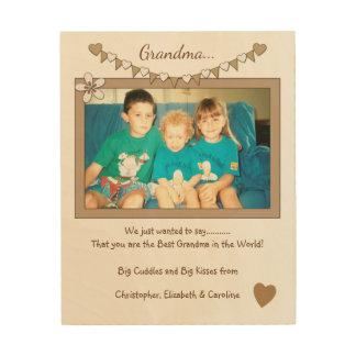 祖父母の写真の旗布のために名前入り ウッドウォールアート