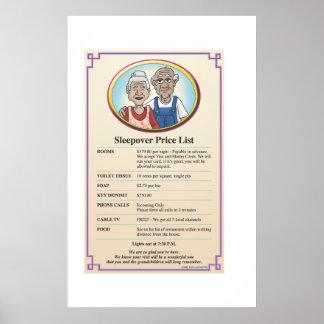 祖父母の訪問の値段表 ポスター