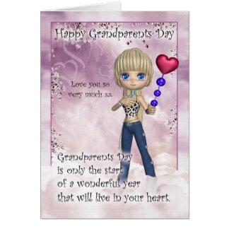 祖父母日カード-かわいい小さな女の子はとの聞きます カード