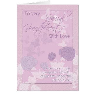 祖父母日カード-ピンク、蝶--は上がり、 カード