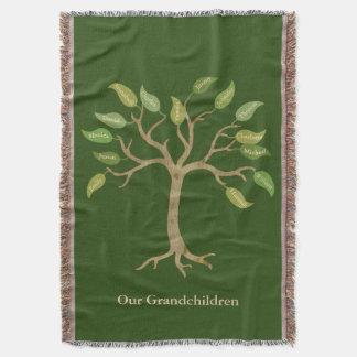 祖父母14の葉の木の緑のブランケット スローブランケット
