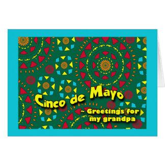 祖父、カラフルなモザイクデザインのためのCinco deメーヨー カード