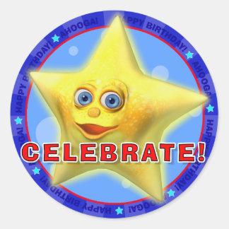 祝って下さい! きらめきを用いる誕生日のステッカー ラウンドシール