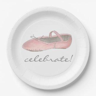 祝って下さい! バレリーナのバレエのダンスの演奏会の誕生日 ペーパープレート
