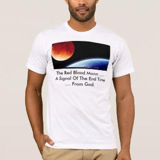 神からの終わりの時間の赤い血月信号 Tシャツ