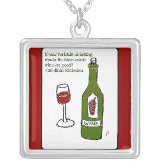 """""""神が… """"赤ワインのプリントを飲むことを禁止したら シルバープレートネックレス"""