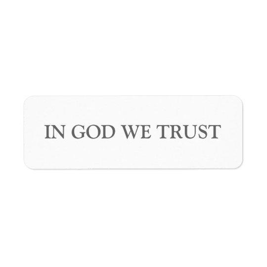 神で私達は信頼します ラベル