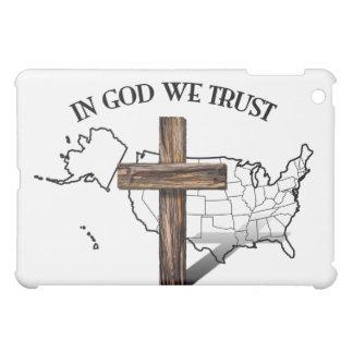 神で私達は険しい十字および米国の輪郭と信頼します iPad MINIケース