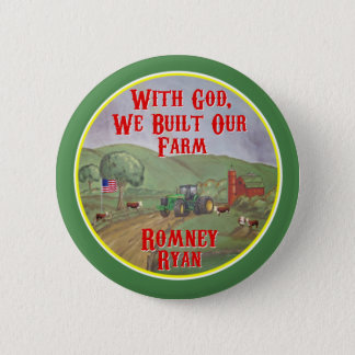 神で、私達は私達の農場Romneyライアンを造りました 5.7cm 丸型バッジ