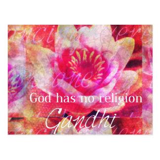 神に宗教- Gandhiの引用文--がありません ポストカード