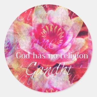 神に宗教- Gandhiの引用文--がありません ラウンドシール