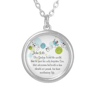 神のためのジョンの3:16の聖書の詩のネックレスはそう…愛しました シルバープレートネックレス