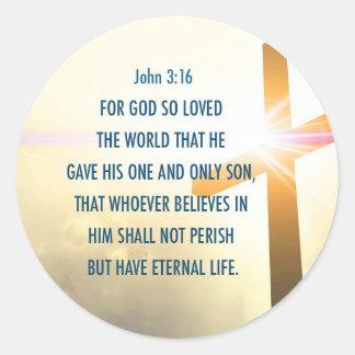 神のためのジョンの3:16はそう世界のステッカーを愛しました ラウンドシール