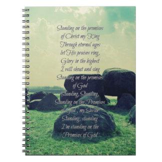 神のクリスチャンの賛美歌の約束に立つこと ノートブック