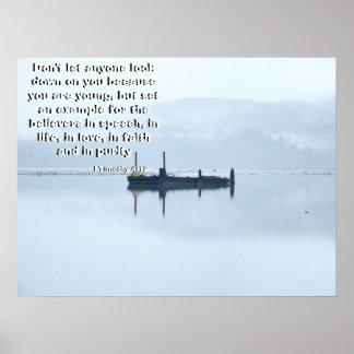 神のプリントによって呼ばれる川の霧 ポスター