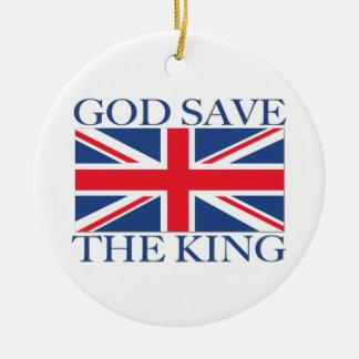 神の保存英国国旗を持つ王 セラミックオーナメント
