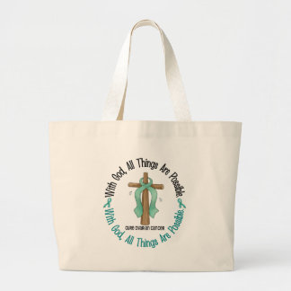 神の十字1を持つ卵巣癌 ラージトートバッグ