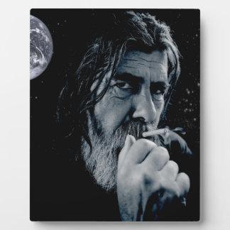 神の喫煙のキリスト教の警告の無神論的で暗い地球 フォトプラーク