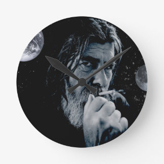 神の喫煙のキリスト教の警告の無神論的で暗い地球 ラウンド壁時計