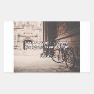 """神の引用文: フィルの4:13 -- """"神与えます強さ""""を 長方形シール"""