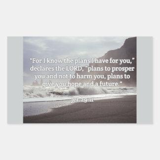 """神の引用文: Jerの29:11-- """"あなたのための神計画""""の 長方形シール"""