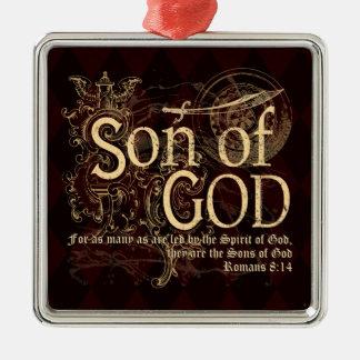 神の息子、ロマンの8:14のクリスチャン シルバーカラー正方形オーナメント