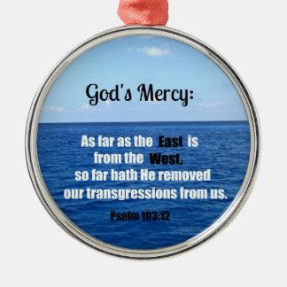 神の慈悲: 賛美歌の103:12 メタルオーナメント