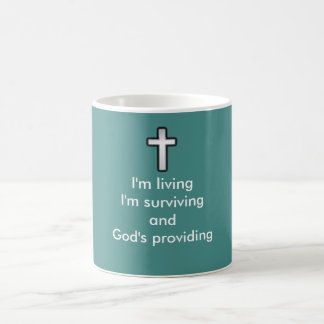 神の提供のコーヒー・マグw/Blackの輪郭の十字 コーヒーマグカップ