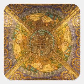 神の新ビザンチンのモザイク伽藍天井の都市 スクエアシール