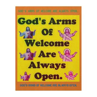 神の歓迎の腕は開いています常に ウッドウォールアート
