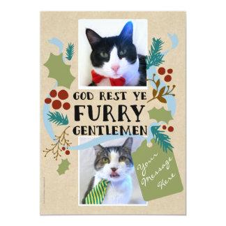 神の残りYeの毛皮で覆われた紳士ペット写真 カード