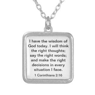 神の聖書の詩1のCorinthiansの2:16の知恵 シルバープレートネックレス