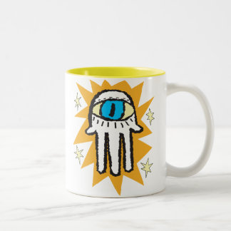 神の金ゴールドの白熱のHamsa手 ツートーンマグカップ