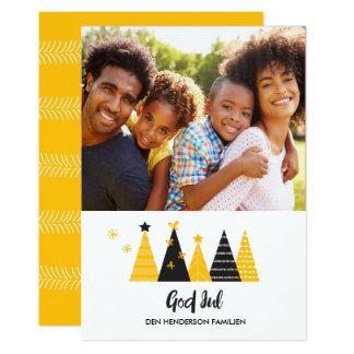 神の7月の金ゴールド及び黒いクリスマスツリーカード カード