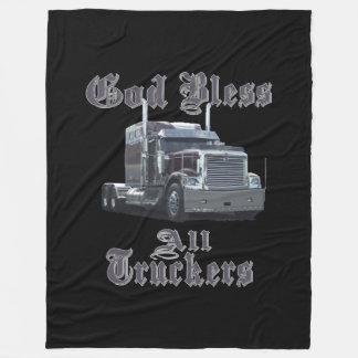 神はすべてのトラック運転手のフリースブランケットを賛美します フリースブランケット