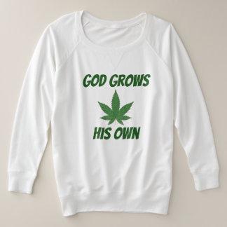 神は彼自身の雑草を育てます プラスサイズスウェットシャツ