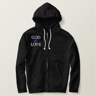 神は愛です 刺繍入りパーカ