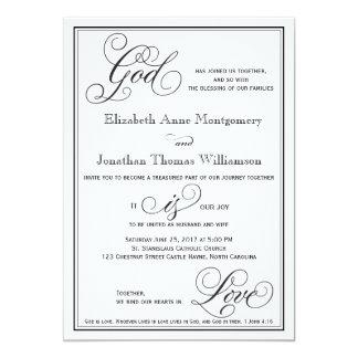 神は愛キリスト教の原稿の結婚式招待状です 12.7 X 17.8 インビテーションカード