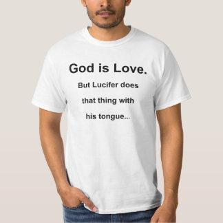 神は愛、しかしLucifer…であり Tシャツ