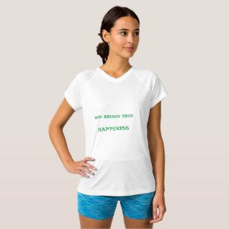 神は本当の幸福V-NECKの白のTシャツを持って来ます Tシャツ