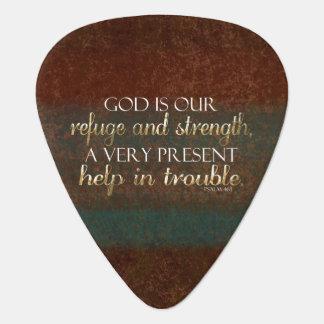 神は私達の非難のキリスト教の聖書の詩ブラウンまたは金ゴールドです ギターピック