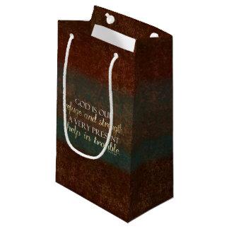 神は私達の非難のキリスト教の聖書の詩ブラウンまたは金ゴールドです スモールペーパーバッグ